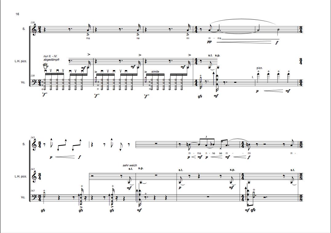 """Ausschnitt aus der Partitur von """"hin und weg"""" für Sopran und Cello von Brigitta Muntendorf"""